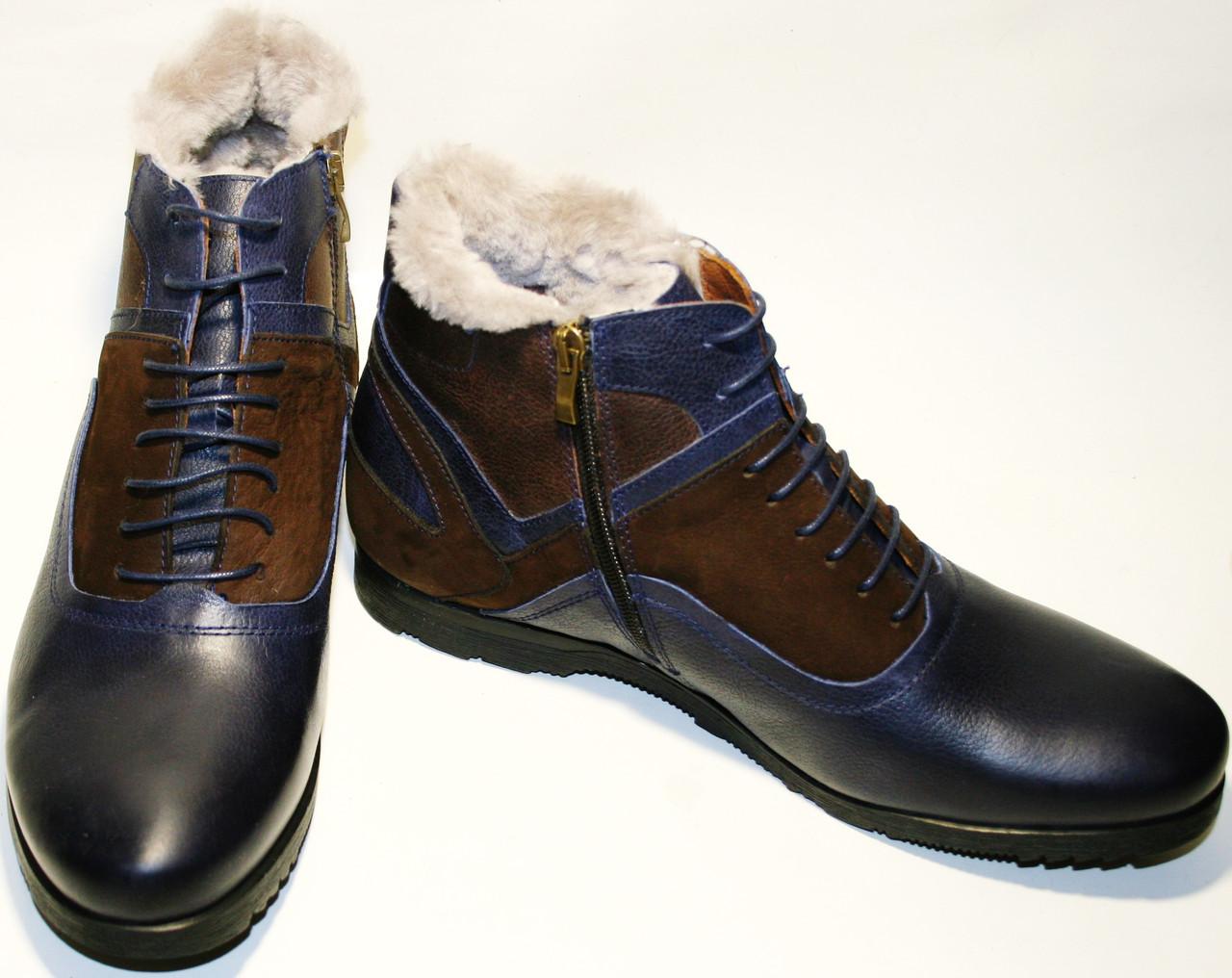 c6d664e31 Ботинок зимний мужской Luciano Bellini 05319 классические,  синие/коричневые, молния/шнурок,