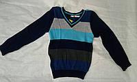 Свитер детский для мальчика 3-6 года,темно синий в цветную полоску