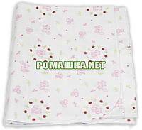 Белая детская ситцевая (ситец) пеленка 110х90 см с русунками для пеленания тонкая 3115-20 Розовый