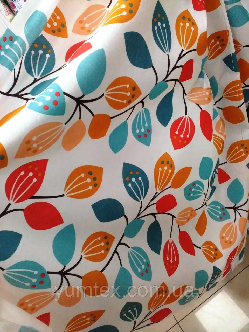 Декоративная ткань Цветные листики, цвет № 2