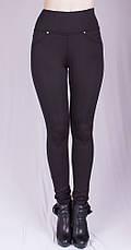 Женские зимние утягивающие леггинсы черные, р.40-68, фото 2