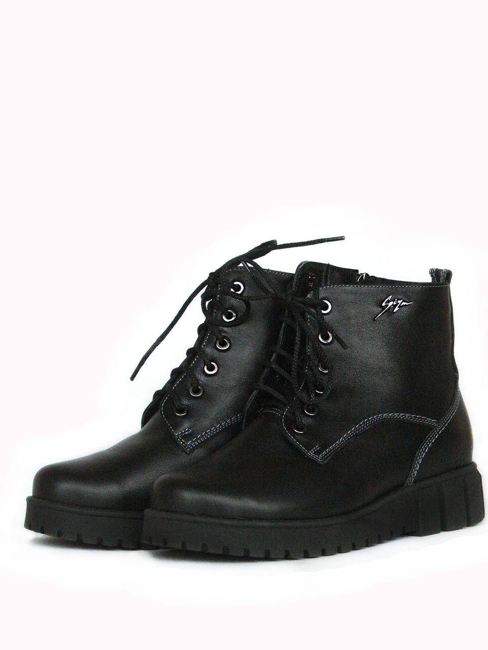 Кожаные ботинки женские на платформе