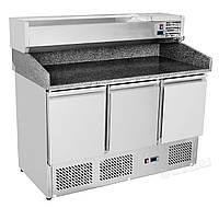 Стол холодильный  для пиццы 3-дверный с нижним расположением агрегата и охлаждаемой полкой для GN-ОВ