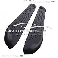 Подножки боковые для Opel Antara (в стиле BMW X5 CanOto) черные
