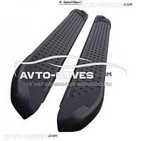Подножки площадки Hyundai Santa Fe (в стиле BMW X5 CanOto) черные