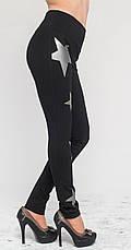 Женские леггинсы черные с серыми звездами, р.42-56, фото 2