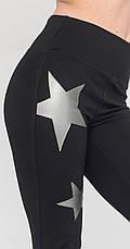 Женские леггинсы черные с серыми звездами, р.42-56, фото 3