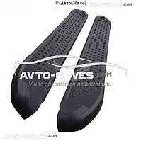 Боковые подножки для СангЙонг Корандо (в стиле БМВ Х5) черные