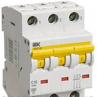 Автоматический выключатель ВА 47-60 3Р 16А 6 кА  х-ка D ИЭК