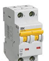 Автоматический выключатель ВА 47-60 2Р 16А 6 кА  х-ка C ИЭК