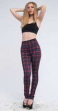 Леггинсы-брюки с утяжкой красно-синяя клетка, 42-56, фото 2