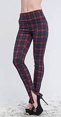 Леггинсы-штаны под каблук красно-синяя клетка, р.42-56, фото 3