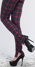 Леггинсы-штаны под каблук красно-синяя клетка, р.42-56, фото 2