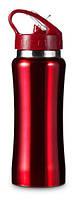 Бутылка спортивная из нержавеющей стали 600 мл. Красная