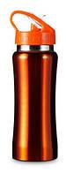 Бутылка спортивная из нержавеющей стали 600 мл. Оранжевая
