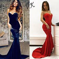 Вечернее платье со шлейфом из бархата с чашками  5666