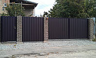 Распашные ворота — зашивка профнастил