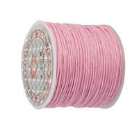 Вощеный шнур Розовый для рукоделия 1 мм 22 м/уп