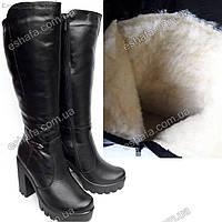 Женские зимние (на овчине) сапоги из натуральной кожи с устойчивом каблуке