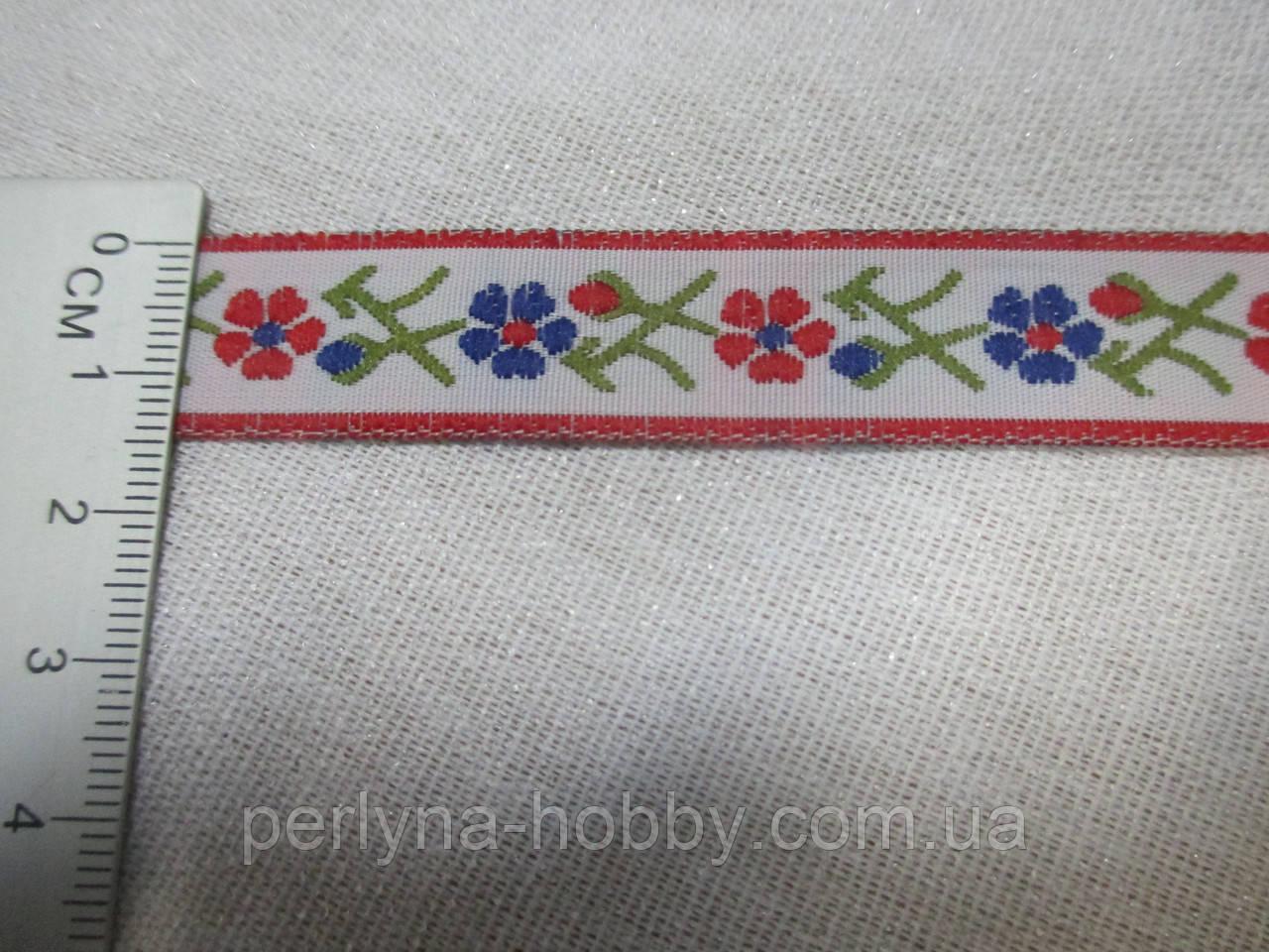 Тесьма з орнаментом квіти 16 мм., біла з квітами