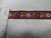 Тесьма декоративная жаккардовая с орнаментом. Тасьма з орнаментом  квіти 16 мм., червона з квітами