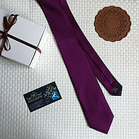 """Стильный галстук """"Жаклин"""" фиолетовый с красной строчкой, в подарочной коробке. Carlo Cavallo, фото 1"""