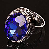 Кольцо безразмерное овал Чешское Стекло синий