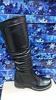 Женские черные кожаные зимние сапоги. Днепропетровск
