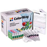 Комплект перезаправляемых картриджей Сolor Way на 6 картриджей для принтера EPSON T 50 / 59 R 270 RX 590 TX700