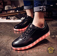 Кроссовки с LED подсветкой ( низкие ) ( чёрный )