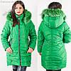 Женская зимняя куртка с капюшоном Эльза зеленая