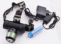 Налобный ультрафиолетовый фонарик Police BL-6953, , аккумуляторный, влагостойкий, оптический зум, светодиодный