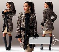 Леопардовое женское пальто 074 (040)