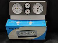 Метеостанция настольная: часы, барометр, гигрометр, термометр. Часы с будильником., фото 1