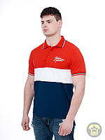 Мужская летняя футболка ( поло , реглан ) Urban planet - FRA ( красный / белый / синий )