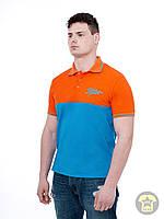 Мужская летняя футболка ( поло , реглан ) Urban planet - OS ( оранжевый / голубой )