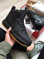 Зимние ботинки в стиле Nike Lunar Force 1 Duckboot 2016 кожа черные
