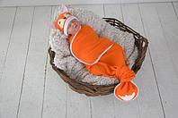 """Безразмерная детская пеленка кокон на липучках """"Каспер"""", """"Лиса"""" для малышки с рождения до 1,5-2 лет ТМ MagBaby"""