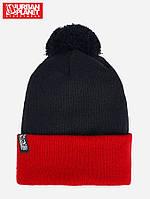 Зимняя теплая шапка с помпоном Urban Planet POM 2 TONE BLACK/RED