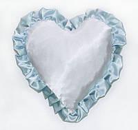 Подушка Сердце атласная с цветным рюшем