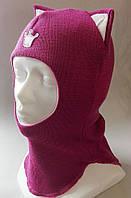 Детский утепленный шлем с ушками на зиму девочку (ОГ 46-54, шерсть + холлофайбер) Китти / Kitty ТМ Be easy 10 цветов