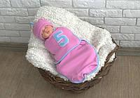 """Евро пеленка-кокон детская на липучках """"IT""""S A FIVE"""" + шапочка для малышки с рождения до 3 месяцев ТМ MagBaby Розовый"""