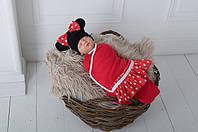 """Евро пеленка-кокон на липучках """"Минни Маус"""" + шапочка для девочки с рождения до 3 месяцев ТМ MagBaby Красный"""