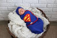 """Евро пеленка-кокон на липучках """"Супермен"""" + шапочка для мальчика (0-3 / 3-6 месяцев) ТМ MagBaby Синий"""