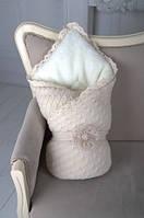 Зимний вязанный шерстяной конверт-одеяло для новорожденного малыша на выписку из роддома (85*85 см) ТМ MagBaby Бежевый