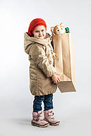 Пальто зимнее на девочку 4-10 лет (ветро/водо/масло защита, холлофайбер) ТМ Be easy Бежевый 128