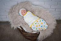 """Удобная евро пеленка-кокон на липучках """"Лева и Ко"""" + шапочка для мальчика или девочки с рождения до 3 месяцев ТМ MagBaby"""