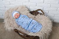 "Удобная евро пеленка-кокон на липучках ""Звездное небо"" + шапочка для ребенка с рождения до 3 месяцев ТМ MagBaby"