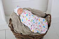 """Удобная современная евро пеленка-кокон на липучках """"Зонтики"""" + шапочка для ребенка от 0 до 6 месяцев ТМ MagBaby"""