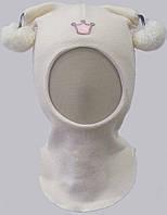 Зимняя шлем-шапка на девочку (окр. гол. 46-56, шерсть мериноса/акрил/холлофайбер) Бельчонок ТМ Be easy Белый Р3